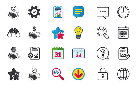 Handshake icons. World, Smile happy face and house building symbol. Dollar cash money. Amicable agreement. Chat, Report and Calendar signs. Stars, Statistics and Download icons. Vector 向量圖像