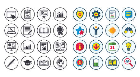 Set of Statistics, Education and Study icons. Presentation, Report and Book signs. Analytics, Pencil and Award medal symbols. Calendar, Report and Book signs. Stars, Service and Download icons
