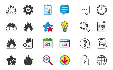 Fire flame icons. Heat symbols. Inflammable signs. Chat, Report and Calendar signs. Stars, Statistics and Download icons. Question, Clock and Globe. Vector Banco de Imagens - 83658587