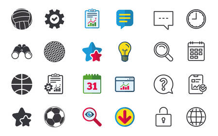 Sport balls icons. Volleyball, Basketball, Soccer and Golf signs. Team sport games. Chat, Report and Calendar signs. Stars, Statistics and Download icons. Question, Clock and Globe. Vector