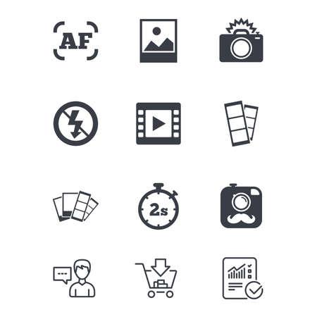 Foto-, video-iconen. Camera, foto's en kaderborden. Geen flits-, timer- en stripsymbolen. Klantenservice, winkelwagen en rapportregels. Online winkelen en statistieken. Vector Stock Illustratie
