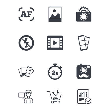Photo, video icons. Camera, photos and frame signs. No flash, timer and strips symbols. Customer service, Shopping cart and Report line signs. Online shopping and Statistics. Vector