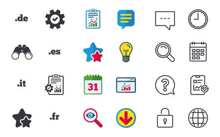 Top-level internet domain icons. De, It, Es and Fr symbols. Unique national DNS names. Chat, Report and Calendar signs. Stars, Statistics and Download icons. Question, Clock and Globe. Vector