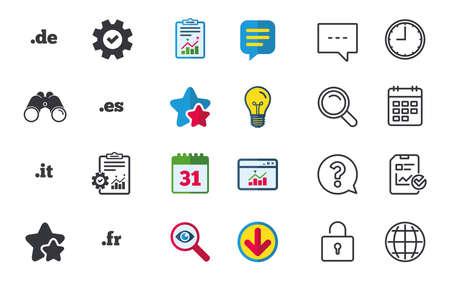 Top-level internet domein pictogrammen. De, It, Es en Fr symbolen. Unieke nationale DNS-namen. Chat-, rapport- en kalenderborden. Sterren, Statistieken en Download pictogrammen. Vraag, klok en wereld. Vector