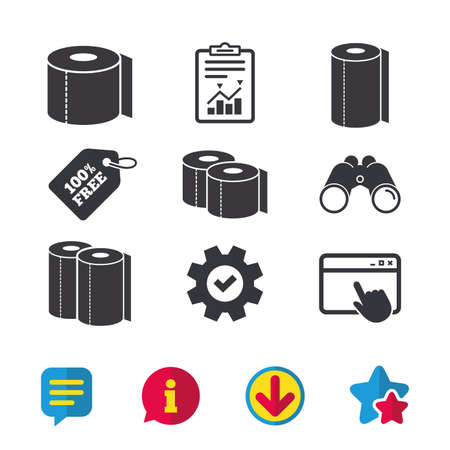Toilet paper icons. Kitchen roll towel symbols. WC paper signs. Browser window, Report and Service signs. Binoculars, Information and Download icons. Stars and Chat. Vector
