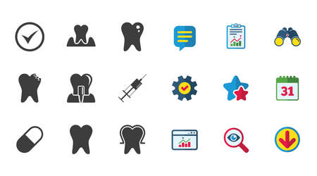 Tooth, dental care icons. Stomatology, syringe and implant signs. Healthy teeth, caries and pills symbols. Calendar, Report and Download signs. Stars, Service and Search icons. Vector Illustration