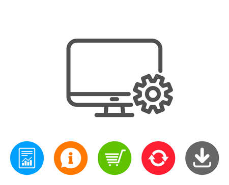 Computer or Monitor icon. Service Cogwheel sign. Personal computer symbol. Report, Information and Refresh line signs. Shopping cart and Download icons. Editable stroke. Vector Illustration