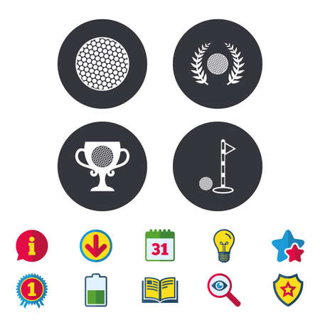 Golf ball icons. Laurel wreath winner award cup sign. Luxury sport symbol. Calendar, Information and Download signs. Stars, Award and Book icons. Light bulb, Shield and Search. Vector Illustration