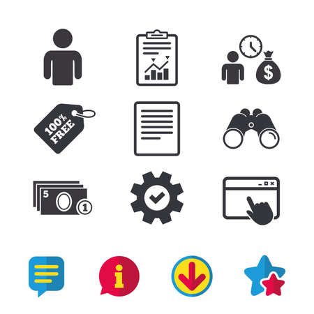 Bank loans icons. Cash money bag symbol. Apply for credit sign. Fill document and get cash money. Browser window, Report and Service signs. Binoculars, Information and Download icons. Stars and Chat