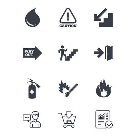 Brandveiligheid, noodpictogrammen. Brandblusser, uitgang en attentieborden. Waarschuwing, waterdruppel en uitweg symbolen. Klantenservice, winkelwagen en rapportregels. Vector