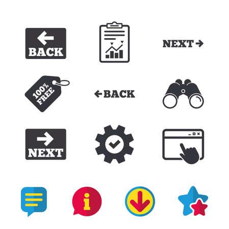 뒤로 및 다음 탐색 표지판. 화살표 방향 아이콘입니다. 브라우저 창, 보고서 및 서비스 표지판. 쌍안경, 정보 및 다운로드 아이콘. 별과 채팅. 벡터