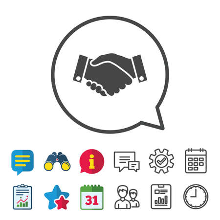 Handshake sign icon. Successful business symbol. Information, Report and Calendar signs. Group, Service and Chat line icons. Vector Çizim