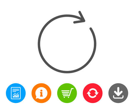 Refresh line icon. Rotation arrow sign. Reset or Reload symbol. Report, Information and Refresh line signs. Shopping cart and Download icons. Editable stroke. Vector Illustration
