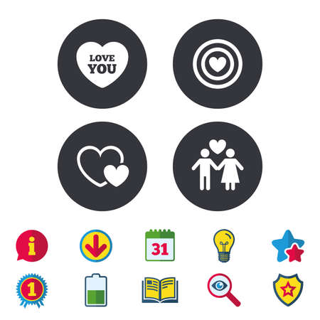 Valentine day love icons. Target aim with heart symbol. Couple lovers sign. Calendar, Information and Download signs. Stars, Award and Book icons. Light bulb, Shield and Search. Vector Illusztráció