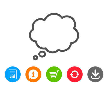 shopping chart: Comic Speech bubble line icon. Chat sign. Communication or Comment symbol. Report, Information and Refresh line signs. Shopping cart and Download icons. Editable stroke. Vector Illustration