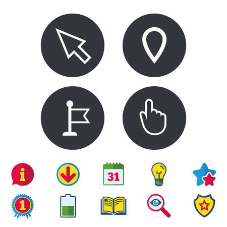 map pin: Mouse cursor icon. Hand or Flag pointer symbols. Map location marker sign. Calendar, Information and Download signs. Stars, Award and Book icons. Light bulb, Shield and Search. Vector Illustration