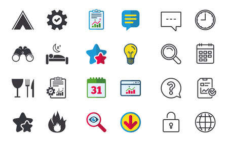 Food, sleep, camping tent and fire icons. Knife, fork and wineglass. Hotel or bed and breakfast. Road signs. Chat, Report and Calendar signs. Stars, Statistics and Download icons. Vector