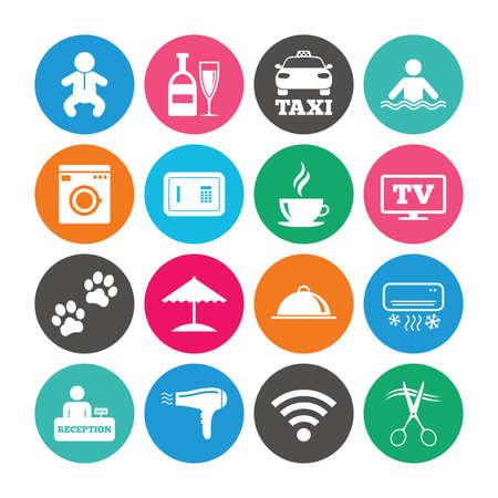 Set van pictogrammen voor hoteldiensten. Taxi, Wifi internet en zwembadborden. Koffie, wijnfles en symbolen voor airconditioning. Gekleurde cirkelknopen met vlakke tekens. Vector Stock Illustratie