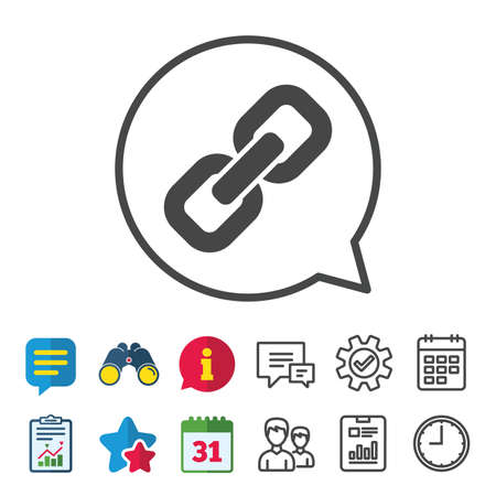 Link sign icon. Hyperlink chain symbol. Information, Report and Calendar signs. Group, Service and Chat line icons. Vector Illusztráció