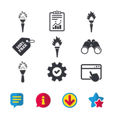 Torch flame icons. Fire flaming symbols. Hand tool which provides light or heat. Browser window, Report and Service signs. Binoculars, Information and Download icons. Stars and Chat. Vector