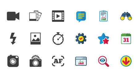 Photo, video icons. Camera, photos and frame signs. Flash, timer and landscape symbols. Calendar, Report and Download signs. Stars, Service and Search icons. Statistics, Binoculars and Chat. Vector