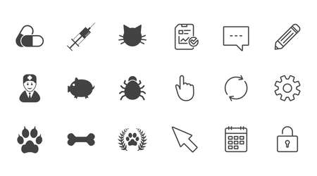 Veterinary, pets icons. Paw, syringe and bone signs. Pills, cat and doctor symbols. Chat, Report and Calendar line signs. Service, Pencil and Locker icons. Click, Rotation and Cursor. Vector