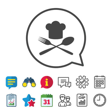 flatwares: Chef hat sign icon. Cooking symbol. Cooks hat with fork and spoon. Information, Report and Calendar signs. Group, Service and Chat line icons. Vector Illustration