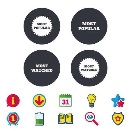 가장 인기있는 별 아이콘입니다. 가장 많이 본 심볼. 고객 또는 사용자가 선택한 표지판. 달력, 정보 및 다운로드 표지판. 별, 수상 및 책 아이콘. 전구,  일러스트