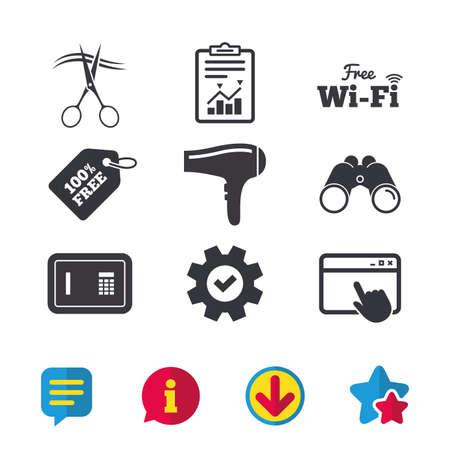 Hoteldiensten pictogrammen. Wi-fi, haardroger en borg slot in de kamer tekenen. Draadloos netwerk. Kapper of herenkapper symbool. Browservenster, rapport en serviceborden. Vector