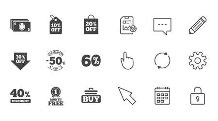 Sale discounts icon. Shopping cart, buying and cash money signs. 40, 50 and 60 percent off. Special offer symbols. Chat, Report and Calendar line signs. Service, Pencil and Locker icons. Vector