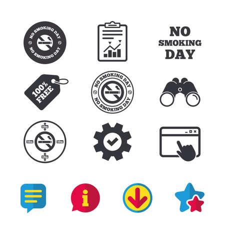 Niet roken dag pictogrammen. Tegen sigaretten tekenen. Stoppen met roken of stoppen met roken. Browservenster, rapport en serviceborden. Verrekijker, informatie en download pictogrammen. Sterren en chatten. Vector