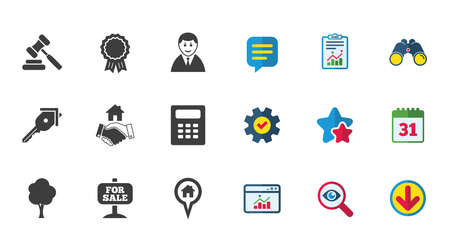 Real estate, auction icons. Handshake, for sale and calculator signs. Key, tree and award medal symbols. Calendar, Report and Download signs. Stars, Service and Search icons. Vector Stock Vector - 84251543