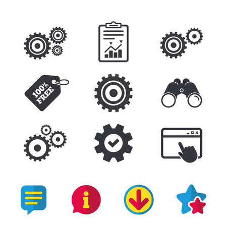 Cogwheel gear icons. Mechanism symbol. Website or App settings sign. Working process performance. Browser window, Report and Service signs. Binoculars, Information and Download icons. Stars and Chat