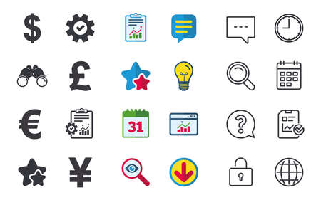 Dollar, Euro, Pound and Yen currency icons. USD, EUR, GBP and JPY money sign symbols. Chat, Report and Calendar signs. Stars, Statistics and Download icons. Question, Clock and Globe. Vector 向量圖像