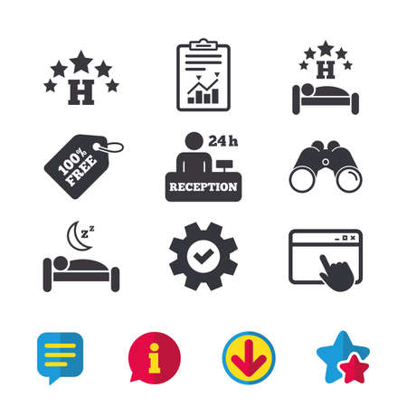 Five stars hotel icons. Travel rest place symbols. Human sleep in bed sign. Hotel 24 hours registration or reception. Browser window, Report and Service signs. Vector 向量圖像