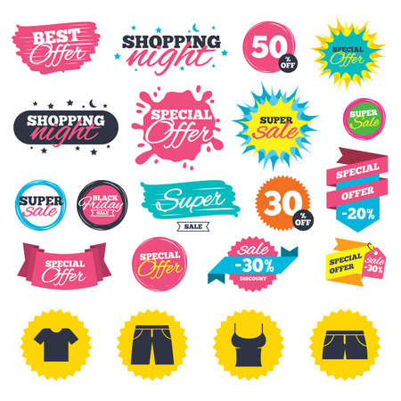 Sale shopping banners. Clothes icons. T-shirt and pants with shorts signs. Swimming trunks symbol. Web badges, splash and stickers. Best offer. Vector Ilustração