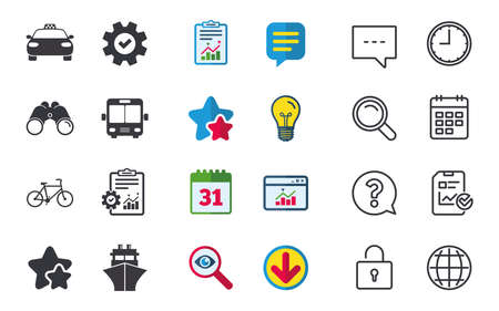 Transport icons. Taxi car, Bicycle, Public bus and Ship signs. Shipping delivery symbol. Family vehicle sign. Chat, Report and Calendar signs. Stars, Statistics and Download icons. Vector Illustration