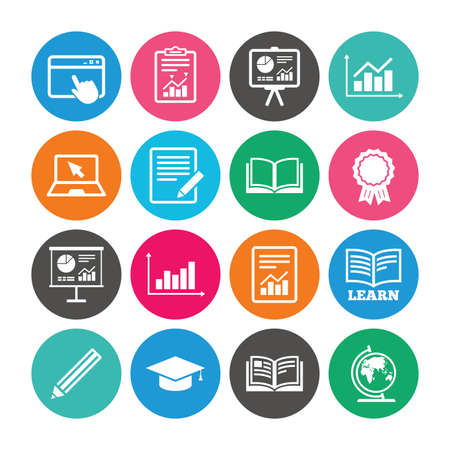 Set of Statistics, Education and Study icons. Presentation, Report and Book signs. Analytics, Pencil and Award medal symbols. Colored circle buttons with flat signs. Vector Illustration
