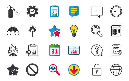 Fire flame icons. Fire extinguisher sign. Prohibition stop symbol. Burning matchstick. Chat, Report and Calendar signs. Stars, Statistics and Download icons. Question, Clock and Globe. Vector
