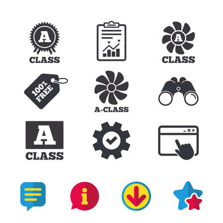 A-class award icon. A-class ventilation sign. Premium level symbols. Browser window, Report and Service signs. Binoculars, Information and Download icons. Stars and Chat. Vector