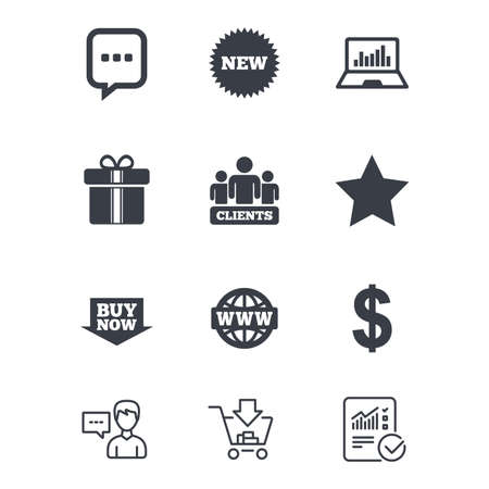 Online shopping, e-commerce and business icons. Gift box, chat message and star signs. Chart, dollar and clients symbols. Customer service, Shopping cart and Report line signs. Vector Illustration
