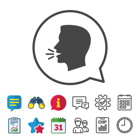 Talk or speak icon. Loud noise symbol. Human talking sign. Information, Report and Calendar signs. Group, Service and Chat line icons. Vector
