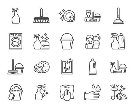 Reinigungslinie Symbole. Wäsche-, Schwamm- und Staubsaugerschilder. Waschmaschine, Hauswirtschaftsservice und Haushaltsausstattung Symbole. Fensterreinigung und Abwischen. Qualitätsgestaltungselemente. Bearbeitbarer Strich