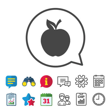 Apple sign icon. Fruit with leaf symbol. Information, Report and Calendar signs. Group, Service and Chat line icons. Vector Illustration