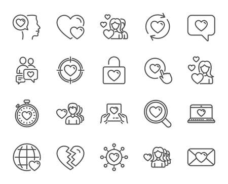 Love line icons. Couple, Romantic and Heart signs. Valentines day symbols. Divorce or Break up. Quality design elements. Editable stroke. Vector