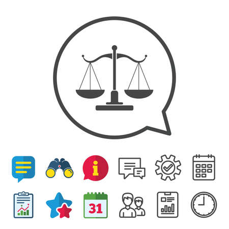 scale of justice: Scales of Justice sign icon. Court of law symbol. Information, Report and Calendar signs. Group, Service and Chat line icons. Vector