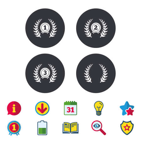 Laurel wreath award icons. Prize for winner signs. First, second and third place medals symbols. Calendar, Information and Download signs. Stars, Award and Book icons. Light bulb, Shield and Search Иллюстрация
