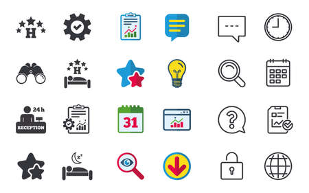 Five stars hotel icons. Travel rest place symbols. Human sleep in bed sign. Hotel 24 hours registration or reception. Chat, Report and Calendar signs. Stars, Statistics and Download icons. Vector 向量圖像