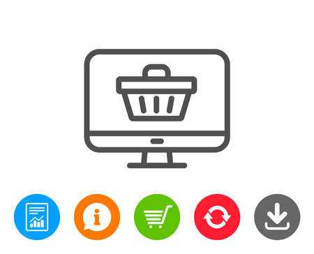 gift basket: Online Shopping cart line icon. Monitor sign. Supermarket basket symbol. Report, Information and Refresh line signs. Shopping cart and Download icons. Editable stroke. Vector Illustration