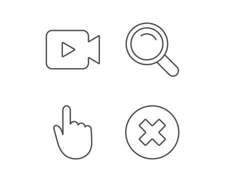 비디오 카메라, 검색 및 손 커서 라인 아이콘. 삭제 단추 및 돋보기 기호입니다. 품질 디자인 요소입니다. 편집 가능한 획. 벡터